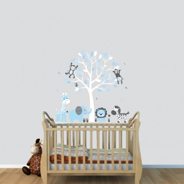 Blue Jungle Wall Stickers With Elephant Wall Decal For Kids Rooms