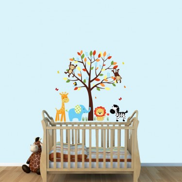 Cheerful Jungle Wall Clings With Giraffe Wall Mural For Children