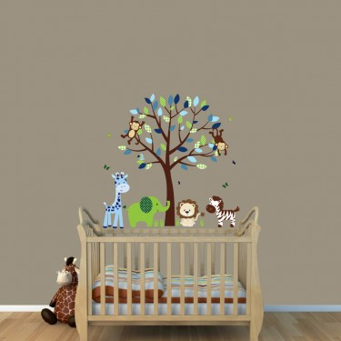 Green & Blue Jungle Tree Wall Decals With Giraffe Decals For Nursery