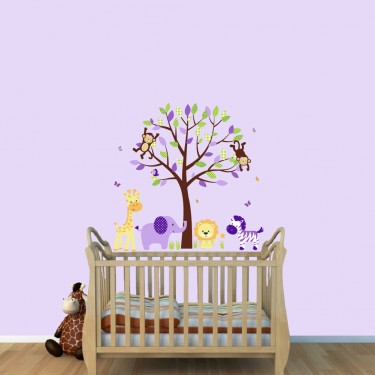 Girls Jungle Wall Stickers With Jungle Animal Wall Decals For Kids Rooms