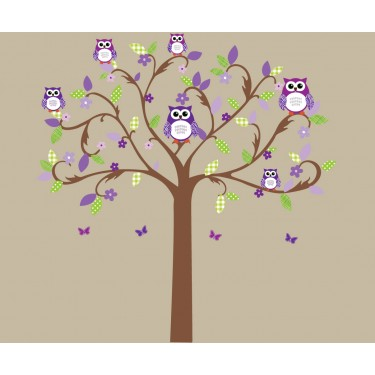 Purple and Green Scroll Tree Wall Stickers For Girls