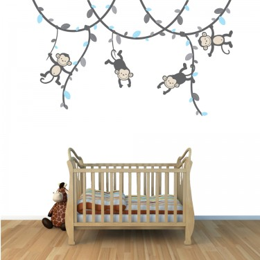 Boy Vine: Blue and Gray - Monkey Decals