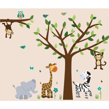 Jungle murals for kids rooms with elephant wall decals for for Baby jungle safari wall mural