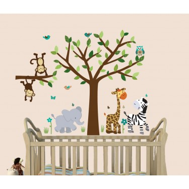 Jungle Wall Clings For Nursery With Giraffe Wall Decor For Boys