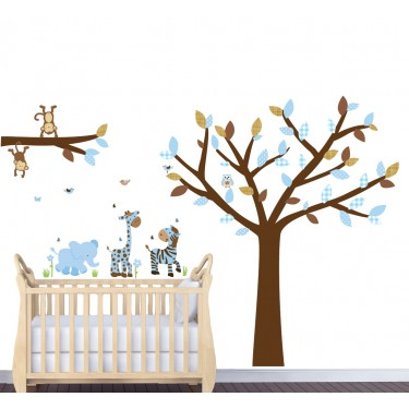 Blue & Brown Jungle Wall Stickers With Giraffe Stickers For Kids Bedrooms
