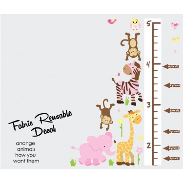 Pink Orange Jungle Decals With Wall Growth Charts For Girls Rooms