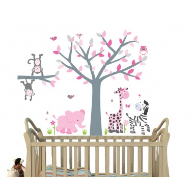 Pink Decals With Wall Decal Tree Nursery For Girls Nursery
