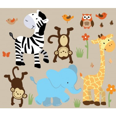 Colorful Jungle Stickers With Zebra Wall Art For Boys