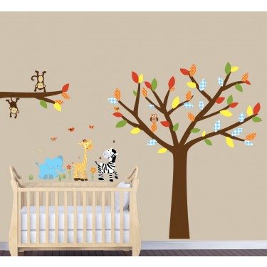 Safari Wall Art With Tree Wall Decals For Kids