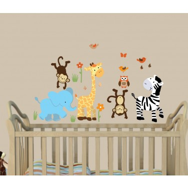 Colorful Jungle Stickers With Giraffe Wall Art For Children