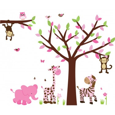 Pink Amp Green Jungle Wall Murals With Tree Decals For Walls