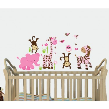 Pink & Green Safari Murals For Play Rooms