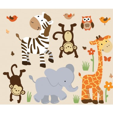 Safari Wall Art safari murals with zebra wall decor for boys
