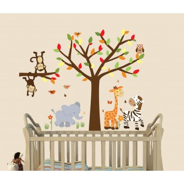 Colorful Jungle Safari Stickers With Giraffe Wall Decal For Boys Nursery