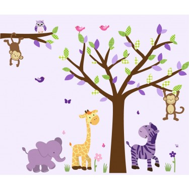 Purple Jungle Decals With Wall Decal Tree Nursery For Girls Bedrooms