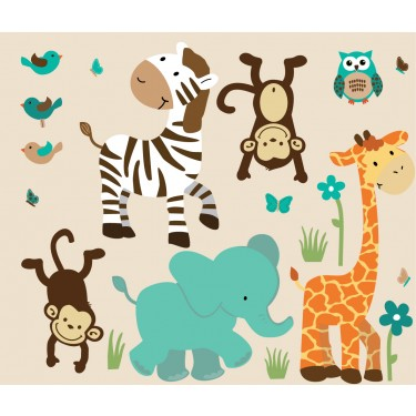 Teal Zoo Wall Stickers With Zebra Wall Decor For Boys Rooms
