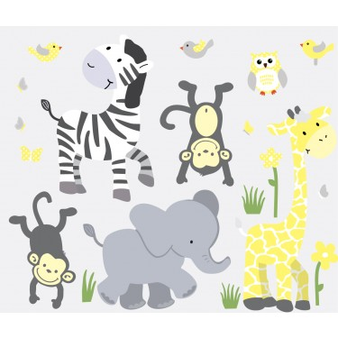 Yellow & Gray Jungle Wall Murals With Zebra Wall Decor For Boys