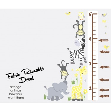 Yellow Gray Jungle Animal Wall Stickers With Child Growth Chart