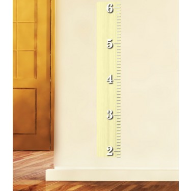 Wooden Ruler Height Chart Yellow Wall decal