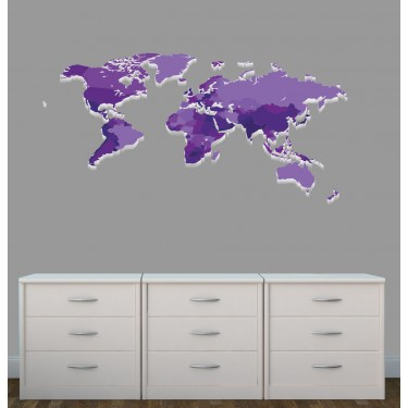Purple world map decal for little girls rooms wall stickers giant with world map wall decor for nursery or baby room gumiabroncs Choice Image