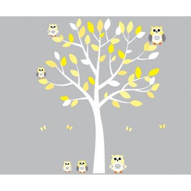 Yellow And Grey Owl Wall Art With White Tree Wall Decal For Girls - Yellow wall decals