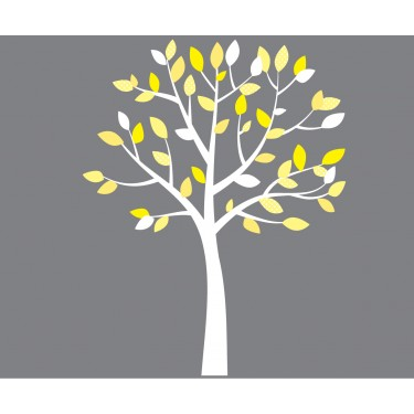 Small Yellow And Gray White Tree Wall Decals For Girls - Yellow wall decals