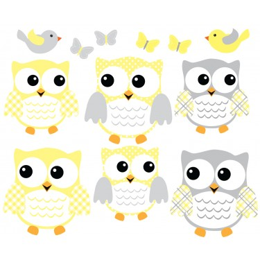 Yellow And Grey Owl Art For Kids With Bird Wall Decals For Children
