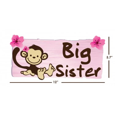 Big Sister Door Decals with Monkey Decals For Girls Bedrooms
