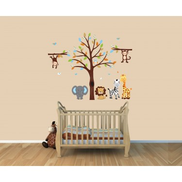 Paradise Zoo Wall Stickers With Giraffe Wall Art For Kids