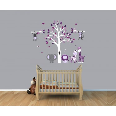 Gray and Purple Jungle Decals For Kids