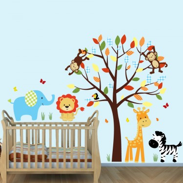 Colorful Wall Decals Jungle With Elephant Decals For Boys