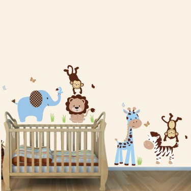 Blue & Brown Jungle Wall Art With Lion Wall Decal For Boys Bedrooms