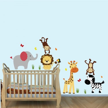 Green Stickers Jungle With Zebra Wall Decals For Boys Bedrooms