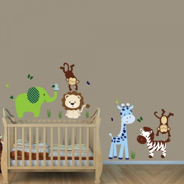 Green & Blue Jungle Safari Stickers With Lion Stickers For Boys