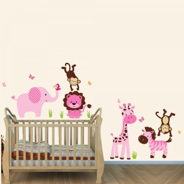 Pink And Green Jungle Theme Wall Decals With Lion Wall
