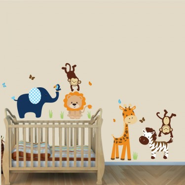 Navy and Orange Jungle Safari Stickers With Lion Stickers For Boys Rooms