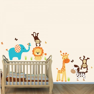 Cheerful Jungle Theme Wall Decals With Lion Stickers For Boys