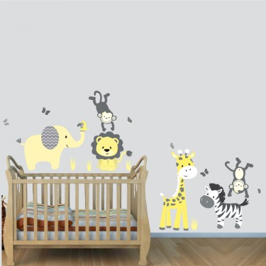 Yellow Gray Safari Wall Decals With Lion Wall Decal For Boys