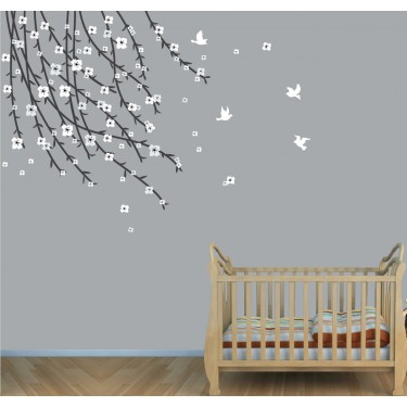 Gray Flowering Branch Wall Decal For Girls