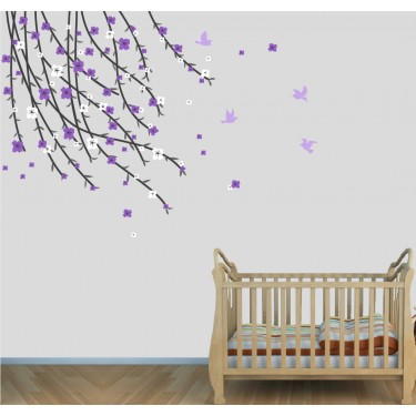 Purple and Pink Flowering Branch Wall Decal For Girls Rooms