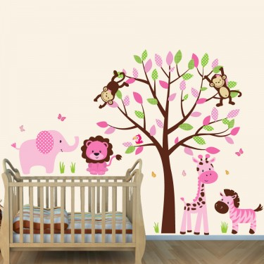 Pink And Brown Safari Nursery Wall Decals With Elephant Wall Decor For Girls