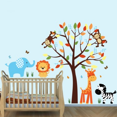Colorful Jungle Wall Mural With Elephant Decals For Boys