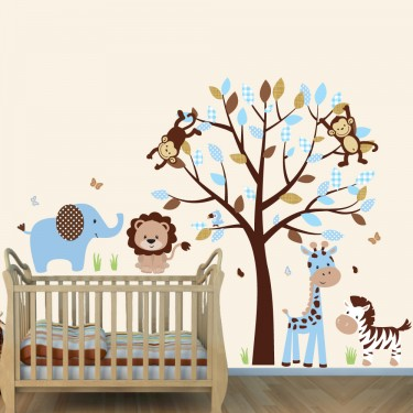 Blue & Brown Jungle Wall Decorations With Elephant Wall Mural For Boys