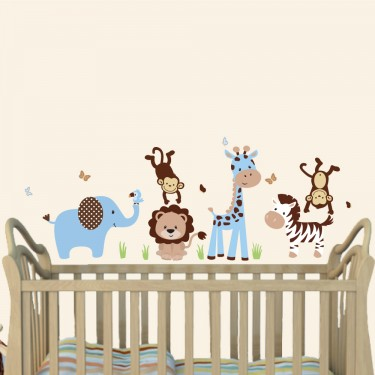 Blue & Brown Jungle Animal Wall Stickers With Giraffe Wall Sticker For Nursery or Baby Room