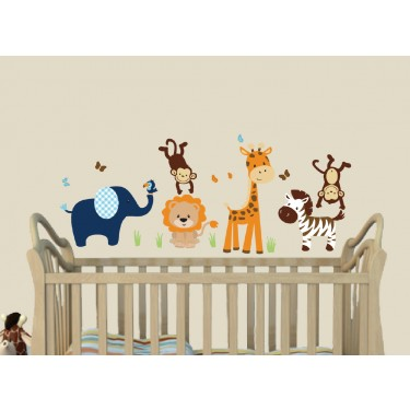 Orange and Navy Safari Nursery Wall Decals With Giraffe Decals For Kids