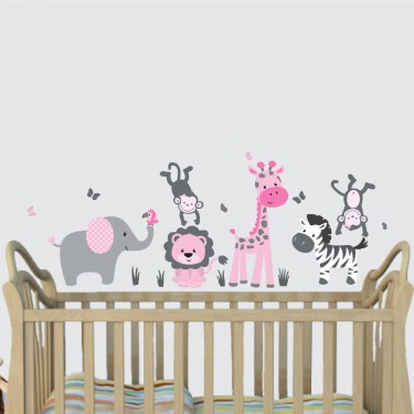 Pink Gray Zoo Wall Stickers With Giraffe Wall Decor For Kids