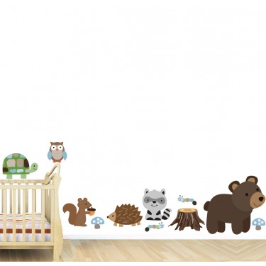 Raccoon, Bear, and Bunny Wall Decals For Children
