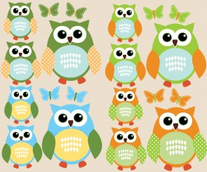 Blue and Orange Owl Tree Wall Decal With Butterfly Wall Art For Nursery For Play Rooms