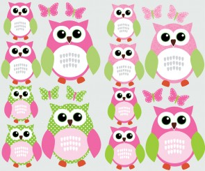 Pink and Green Owl Wall Stickers With Butterfly Wall Decor For Nursery For Kids Rooms