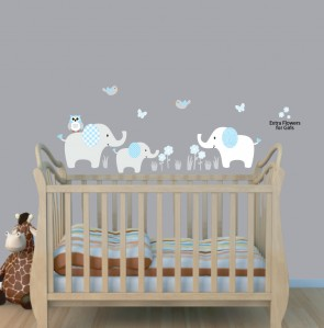 Baby Blue Three Elephants Wall Stickers